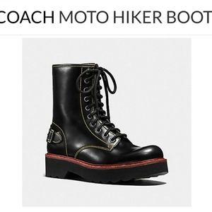Coach Moto Hiker Combat Boot in black